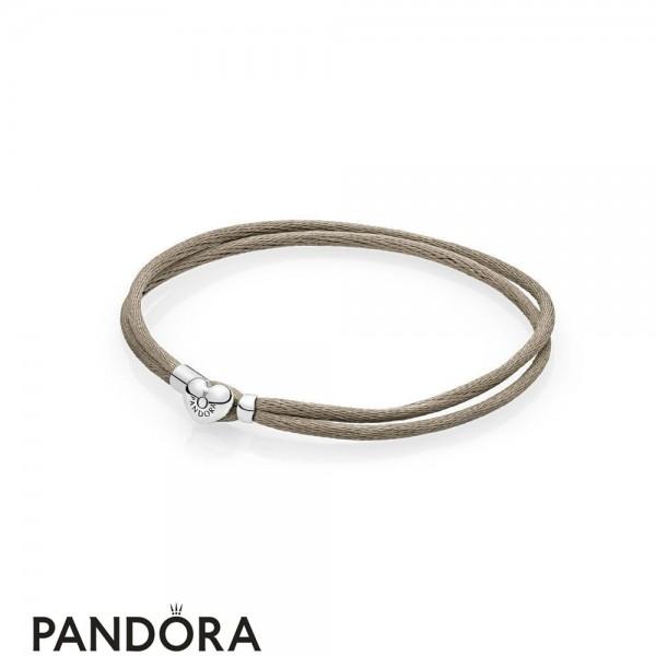 Pandora Bracelets Cord Grey Green Fabric Cord Double Braided Leather Bracelets Jewelry