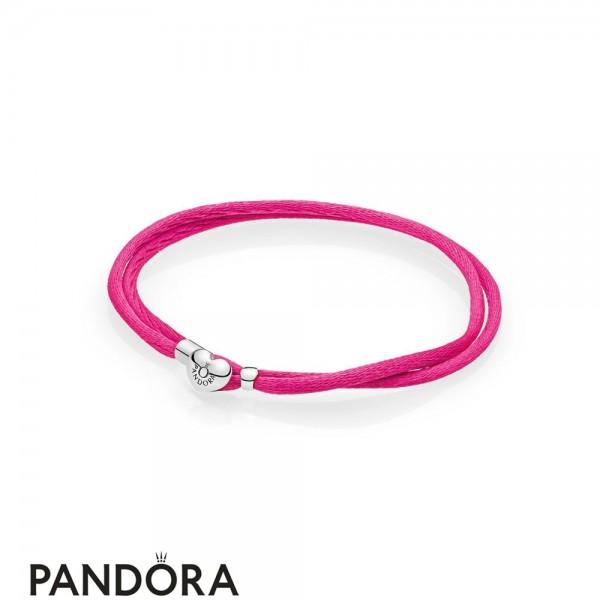 Pandora Bracelets Cord Hot Pink Fabric Cord Double Braided Leather Bracelets Jewelry
