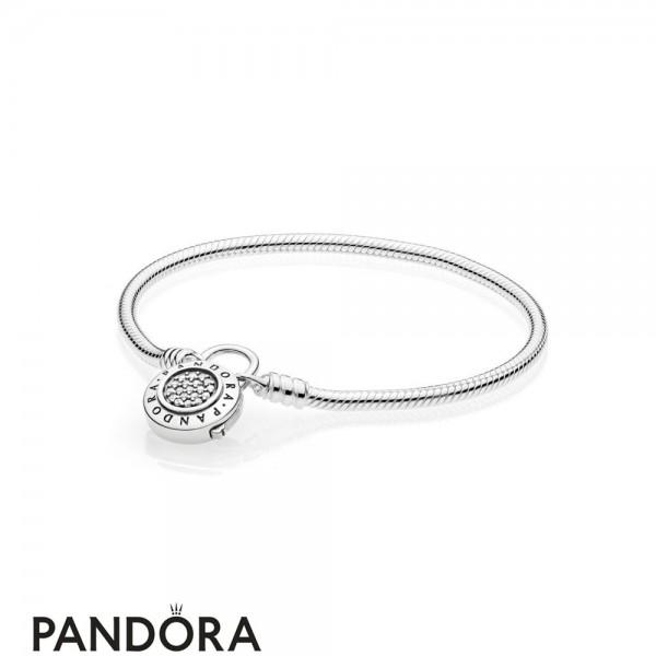 Pandora Moments Smooth Bracelet With Pandora Signature Padlock Jewelry