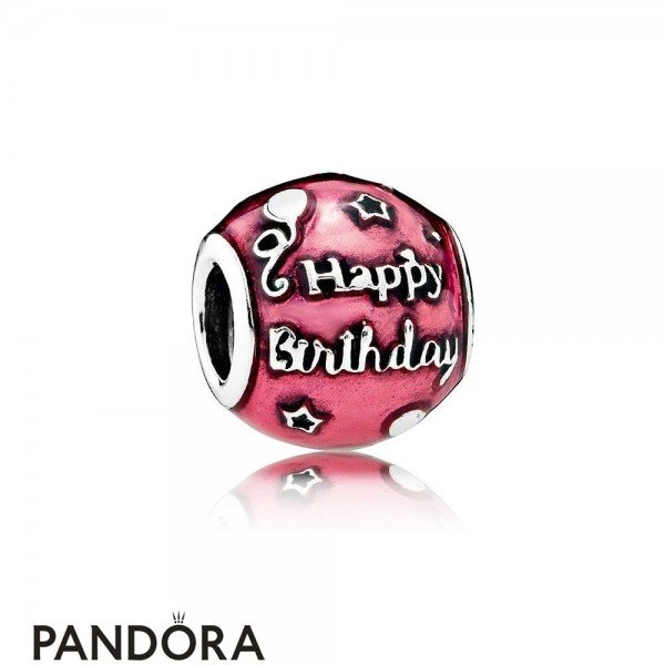 Pandora Birthday Charms Birthday Celebration Charm Transparent Cerise Enamel Jewelry