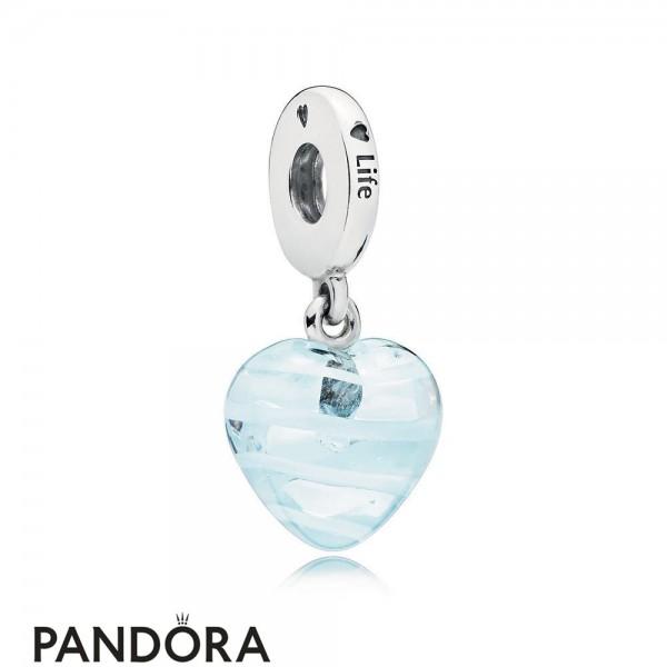 Pandora Blue Ribbon Heart Dangle Charm Murano Glass Jewelry Jewelry