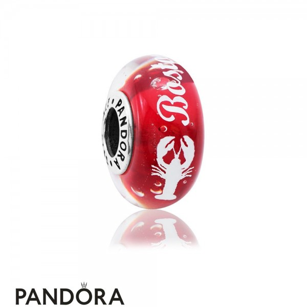 Women's Pandora Boston Lobster Murano Charm White Enamel Jewelry
