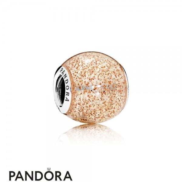 Pandora Contemporary Charms Glitter Ball Charm Rose Golden Glitter Enamel Jewelry