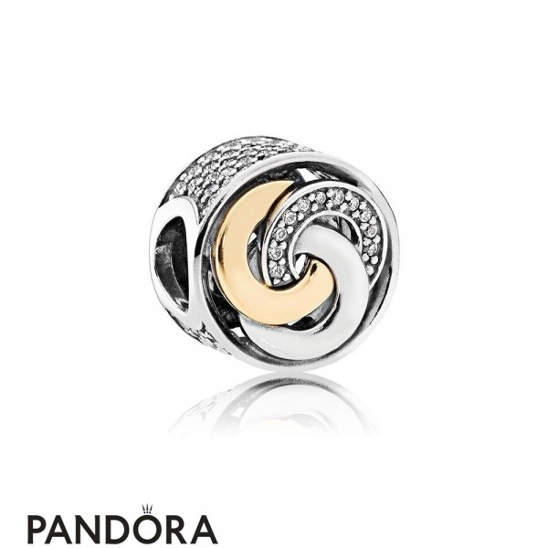 Pandora Contemporary Charms Interlinked Circles Charm Clear Cz Jewelry