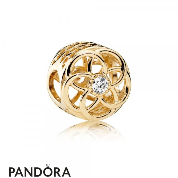 Pandora Contemporary Charms Loving Bloom Charm 14K Gold Clear Cz Jewelry