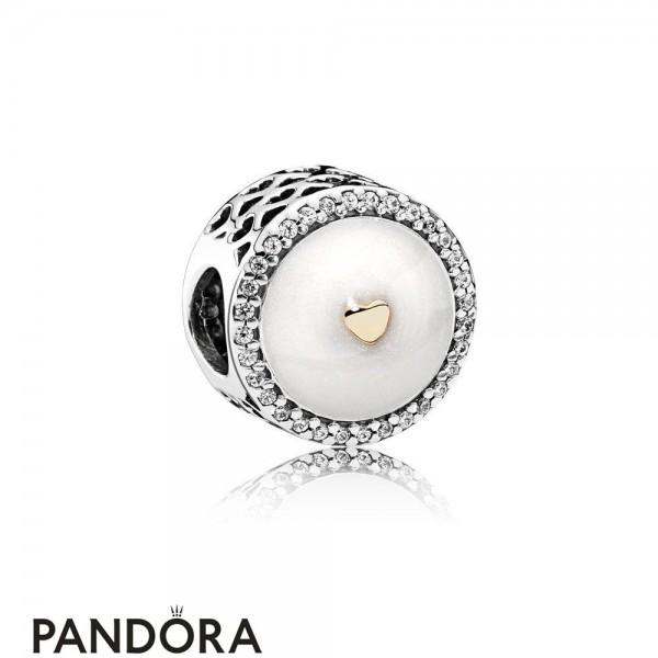 Pandora Contemporary Charms Precious Heart Charm Silver Enamel Clear Cz Jewelry