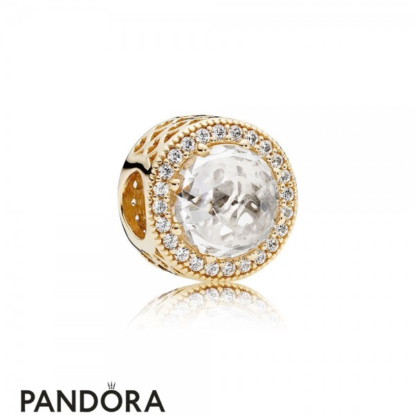 Pandora Contemporary Charms Radiant Hearts Charm 14K Gold Clear Cz Jewelry