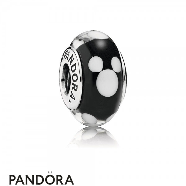 Women's Pandora Disney Mickey Silver Charm With Black And White Murano Glass Jewelry