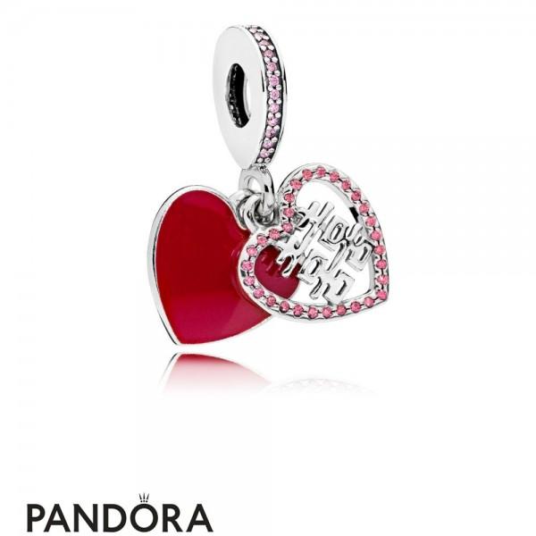 Women's Pandora Double Happiness Heart Hanging Charm Jewelry