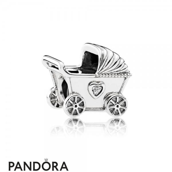 Pandora Family Charms Baby's Pram Charm Clear Cz Jewelry