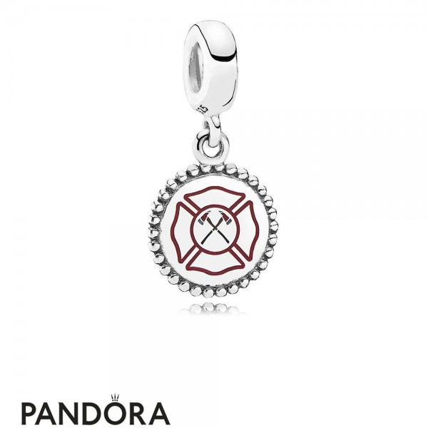 Women's Pandora Firefighter Pendant Charm Mixed Enamel Jewelry