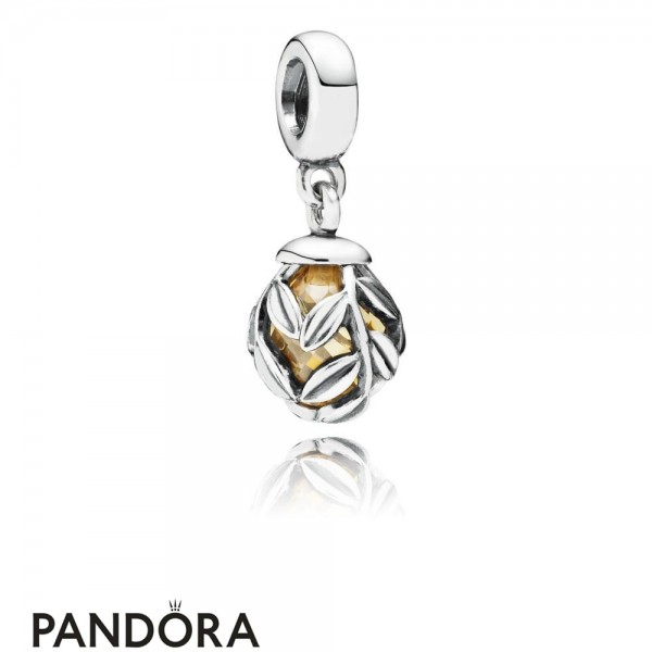 Women's Pandora Golden Laurel Leaves Pendant Charm Jewelry