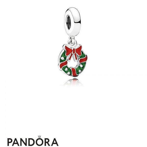 Women's Pandora Holiday Wreath Pendant Charm Berry Red Green Enamel Jewelry