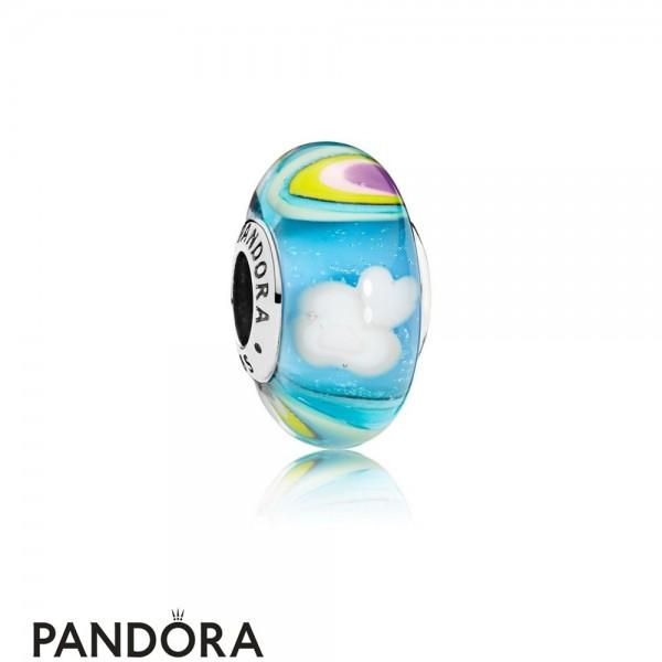Women's Pandora Iridescent Rainbow Murano Glass Charm Jewelry