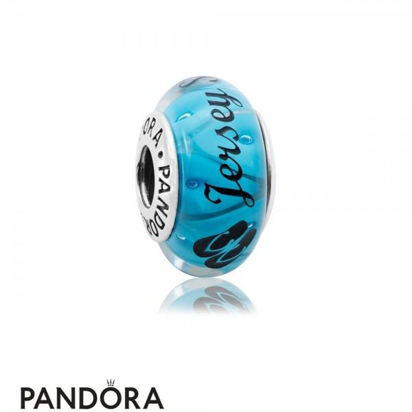 Women's Pandora Jersey Shore Murano Charm Black Enamel Jewelry