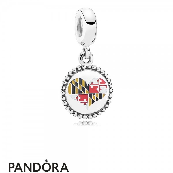 Jewelry Pandora Maryland Flag Heart Dangle Charm Mixed Enamel Jewelry