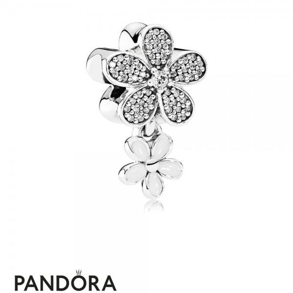 Pandora Nature Charms Dazzling Daisy Duo White Enamel Clear Cz Jewelry