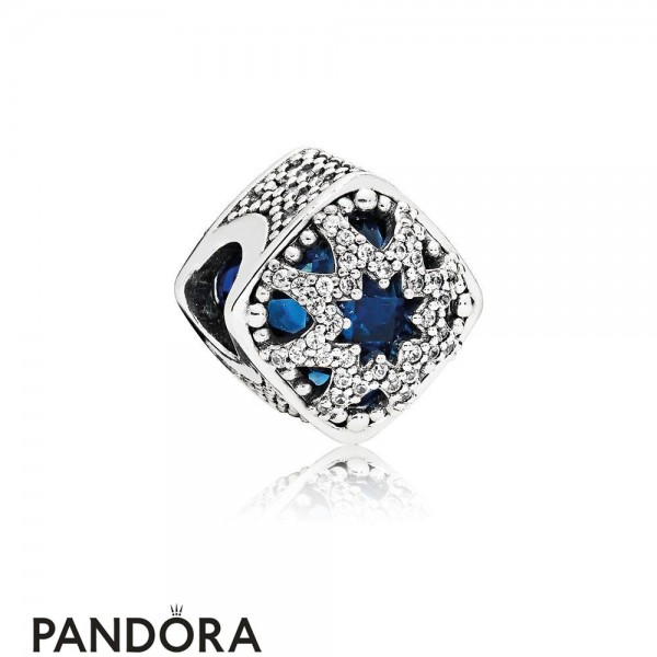 Pandora Nature Charms Glacial Beauty Charm Swiss Blue Crystals Clear Cz Jewelry
