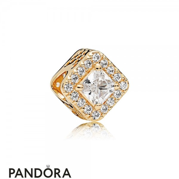 Pandora Passions Charms Chic Glamour Geometric Radiance Charm 14K Gold Clear Cz Jewelry