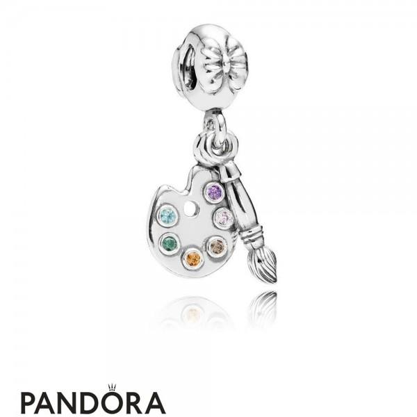 Pandora Pendant Charms Artist's Palette Pendant Charm Multi Colored Cz Jewelry