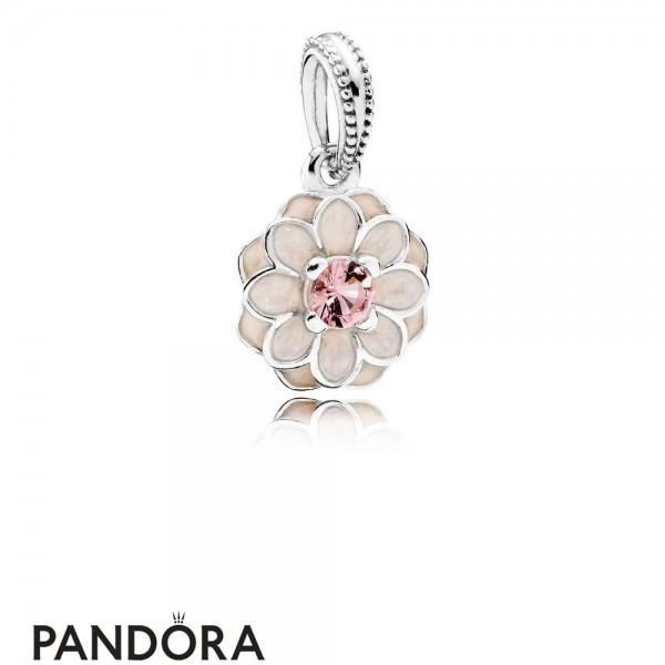 Pandora Pendant Charms Blooming Dahlia Pendant Charm Cream Enamel Blush Pink Crystal Jewelry