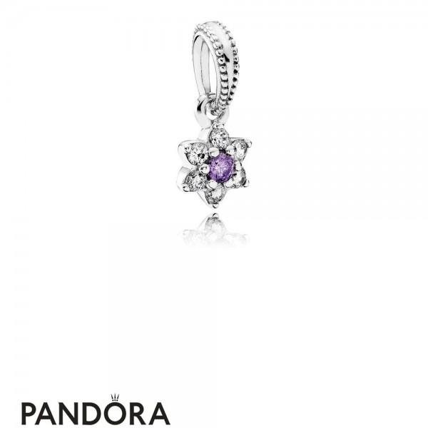 Pandora Pendant Charms Forget Me Not Pendant Charm Purple Clear Cz Jewelry