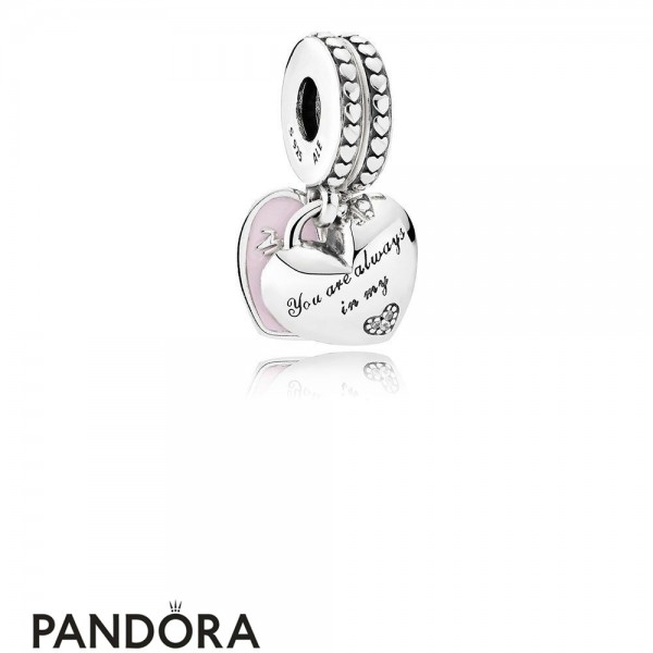 Pandora Pendant Charms Mother Daughter Hearts Pendant Charm Soft Pink Enamel Clear Cz Jewelry