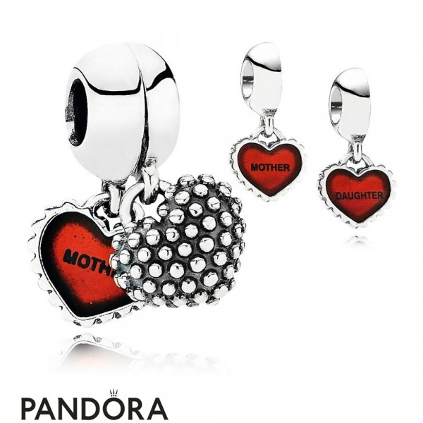Pandora Pendant Charms Piece Of My Heart Daughter Two Part Pendant Charm Red Enamel Jewelry