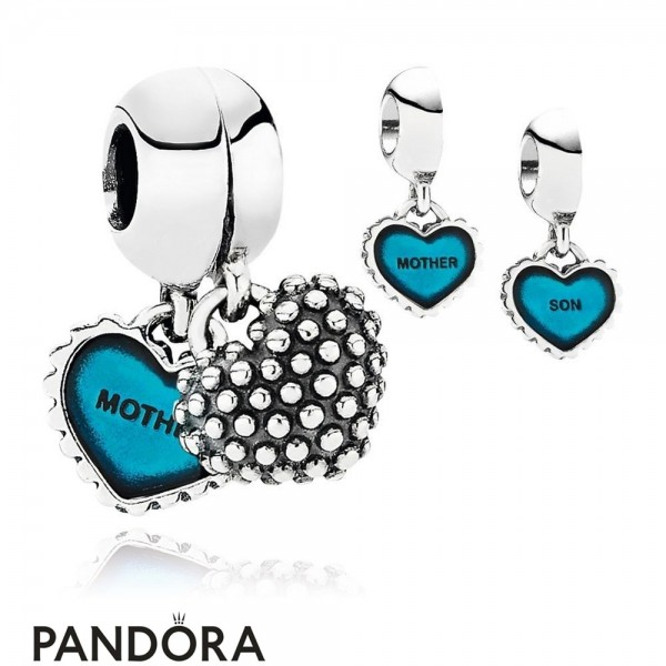 Pandora Pendant Charms Piece Of My Heart Son Two Part Pendant Charm Turquoise Enamel Jewelry