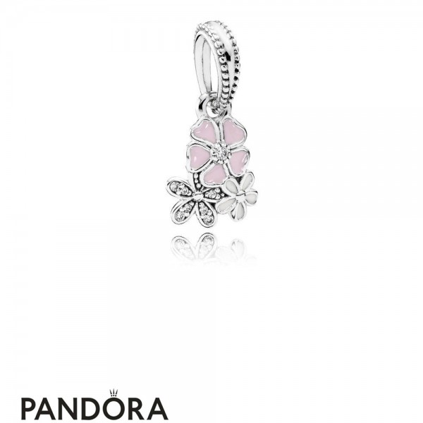 Pandora Pendant Charms Poetic Blooms Pendant Charm Mixed Enamels Clear Cz Jewelry