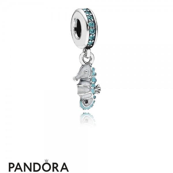 Pandora Pendant Charms Tropical Seahorse Pendant Charm Teal Cz Turquoise Enamel Jewelry
