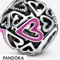 Women's Pandora Pink Openwork Hearts Sketch Charm Jewelry