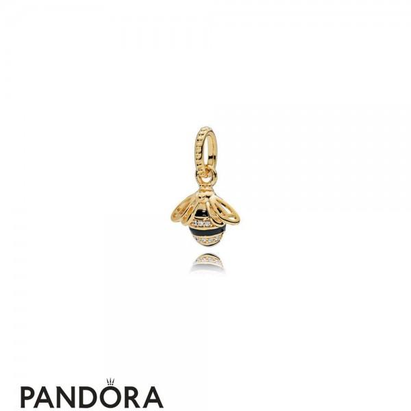 Women's Pandora Queen Bee Pendant Pandora Shine Black Enamel Clear Cz Jewelry