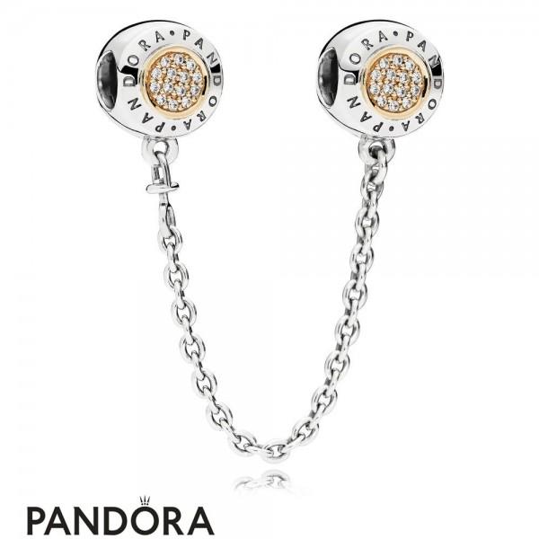 Pandora Safety Chains Pandora 14K Signature Safety Chain Clear Cz Jewelry