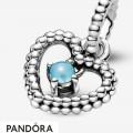 Women's Pandora Sky Blue Beaded Heart Dangle Charm Jewelry