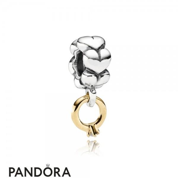 Women's Pandora Solitaire Ring Silver Dangle With 14K Diamond Jewelry