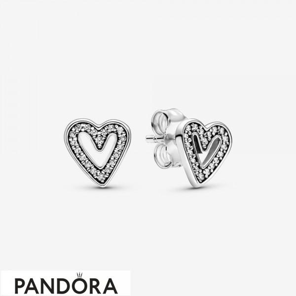 Women's Pandora Sparkling Hearts Sketch Earrings Studs Jewelry