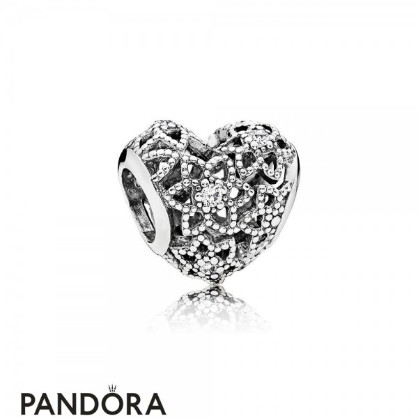 Pandora Sparkling Paves Charms Blooming Heart Charm Clear Cz Jewelry