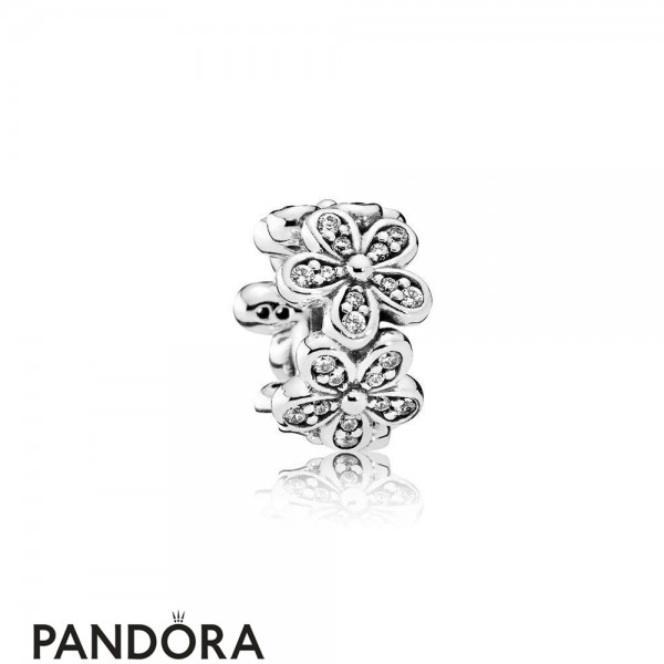 Pandora Sparkling Paves Charms Dazzling Daisies Spacer Clear Cz Jewelry