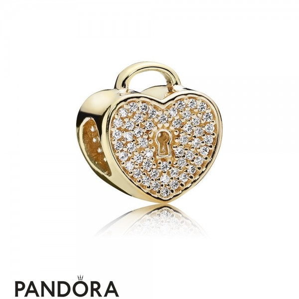 Pandora Sparkling Paves Charms Heart Lock Charm Clear Cz 14K Gold Jewelry
