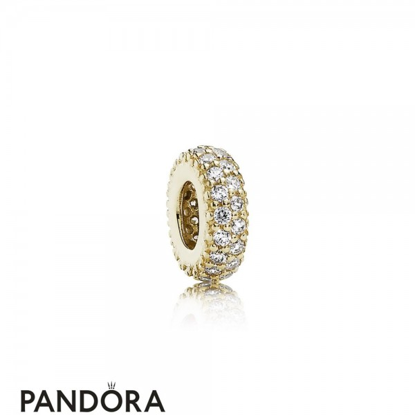 Pandora Sparkling Paves Charms Inspiration Within Spacer 14K Gold Cz Jewelry