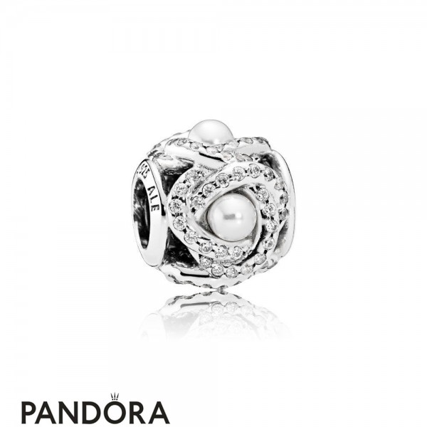 Pandora Sparkling Paves Charms Luminous Love Knot White Crystal Pearl Clear Cz Jewelry