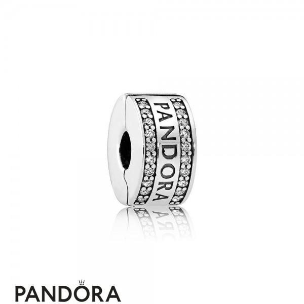 Pandora Sparkling Paves Charms Pandora Logo Clear Cz Jewelry