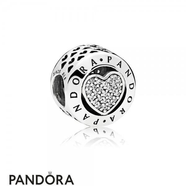 Pandora Sparkling Paves Charms Pandora Signature Heart Charm Clear Cz Jewelry