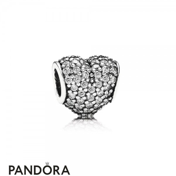 Pandora Sparkling Paves Charms Pave Heart Charm Clear Cz Jewelry