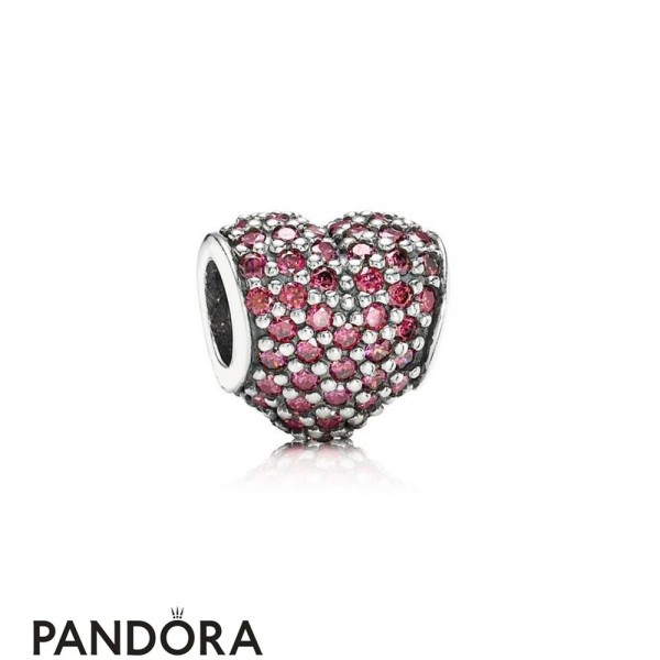 Pandora Sparkling Paves Charms Pave Heart Charm Red Cz Jewelry