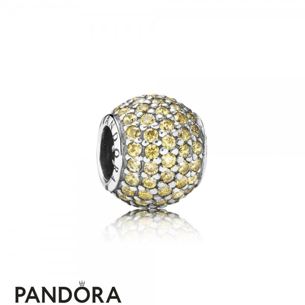 Pandora Sparkling Paves Charms Pave Lights Charm Fancy Golden Colored Cz Jewelry