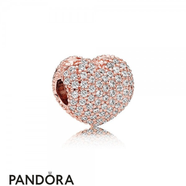 Pandora Sparkling Paves Charms Pave Open My Heart Clip Pandora Rose Clear Cz Jewelry