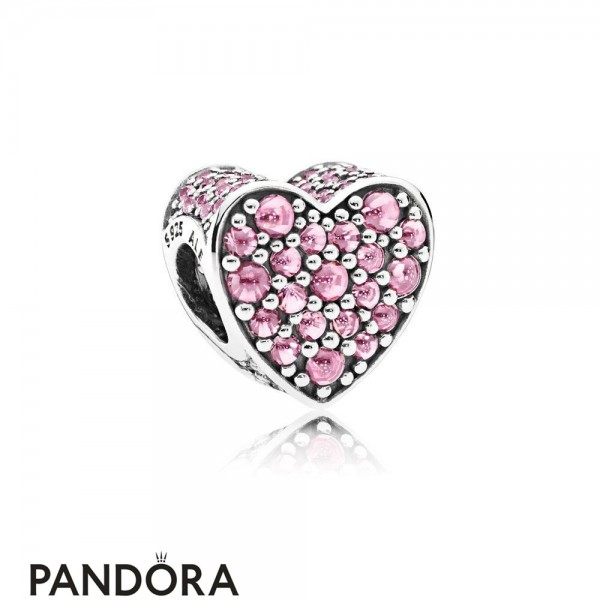 Pandora Sparkling Paves Charms Pink Dazzling Heart Charm Pink Cz Jewelry