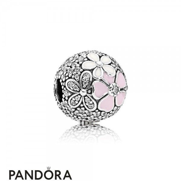 Pandora Sparkling Paves Charms Poetic Blooms Mixed Enamels Clear Cz Jewelry